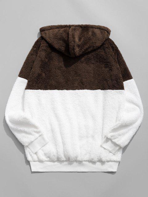 fancy Colorblocking Spliced Half Zipper Faux Fur Hoodie - COFFEE L Mobile