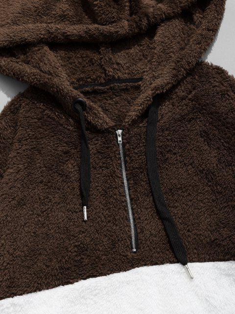 outfit Colorblocking Spliced Half Zipper Faux Fur Hoodie - COFFEE XL Mobile