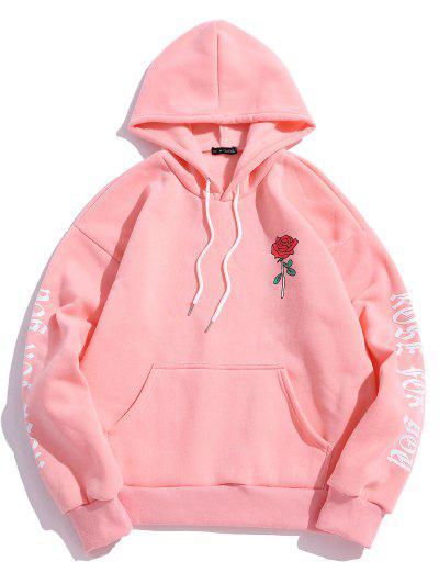 Rose Letter Fleece Kangaroo Pocket Pullover Hoodie - Pink L