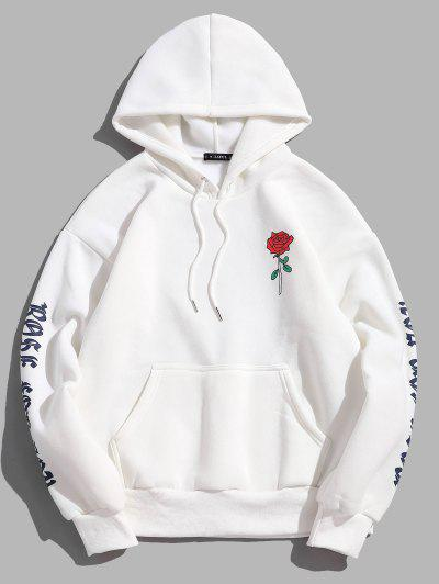 Rose Letter Fleece Kangaroo Pocket Pullover Hoodie - White L