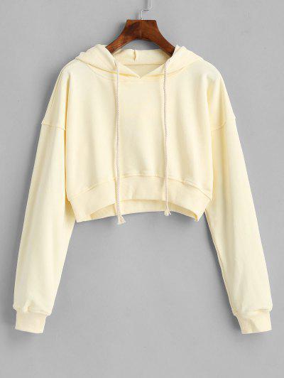 Drawstring Drop Shoulder Cropped Hoodie - Yellow M