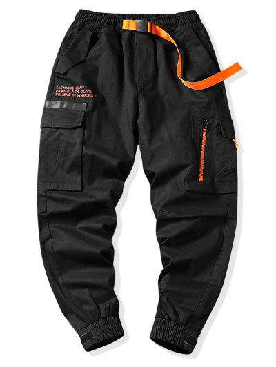 Letter Graphic Print Zipper Design Cargo Jogger Pants - Black L