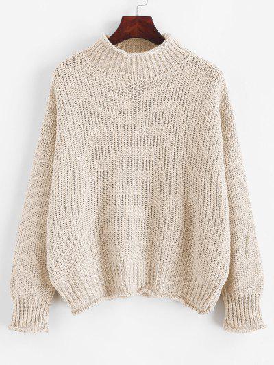 Drop Shoulder Rolled Edge Mock Neck Sweater - White