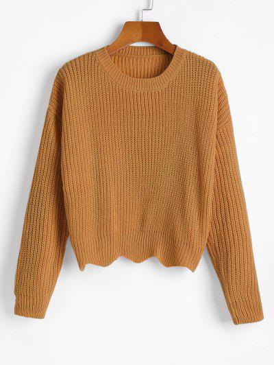 Zigzag Hem Solid Loose Sweater - Marrone