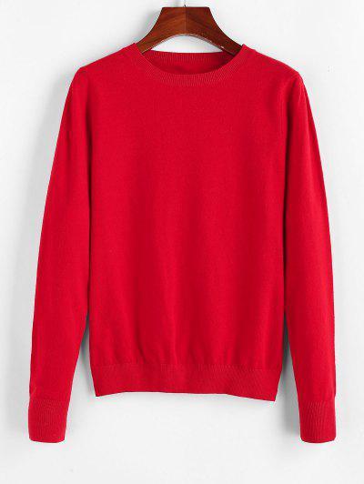 ZAFUL Christmas Crew Neck Plain Knit Sweater - Lava Red L