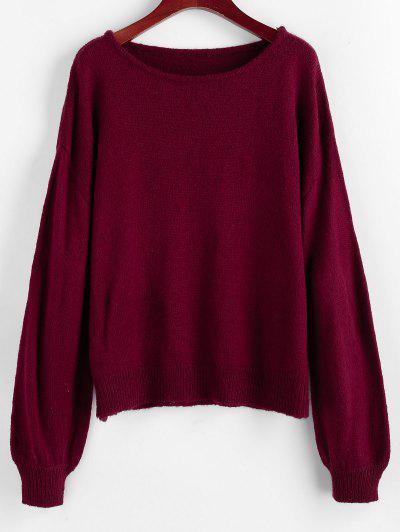 ZAFUL Lantern Sleeve Drop Shoulder Plain Sweater - Red Wine S