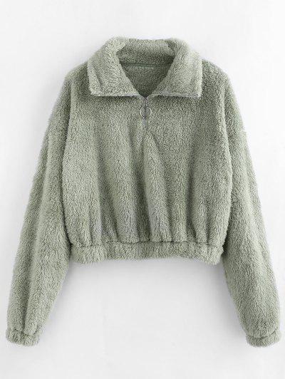 ZAFUL Quarter Zip Drop Shoulder Fluffy Teddy Sweatshirt - Light Green Xl