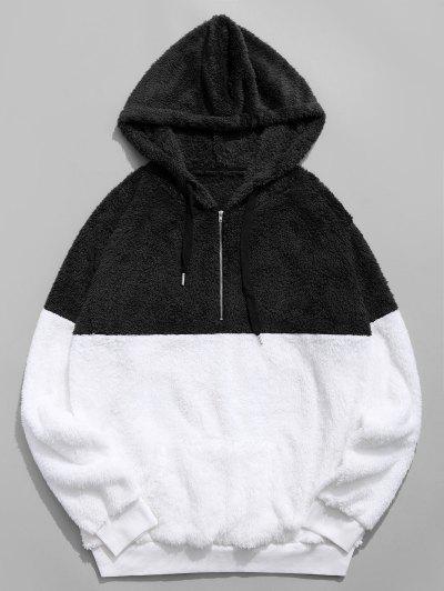 Colorblocking Spliced Half Zipper Faux Fur Hoodie - Black L