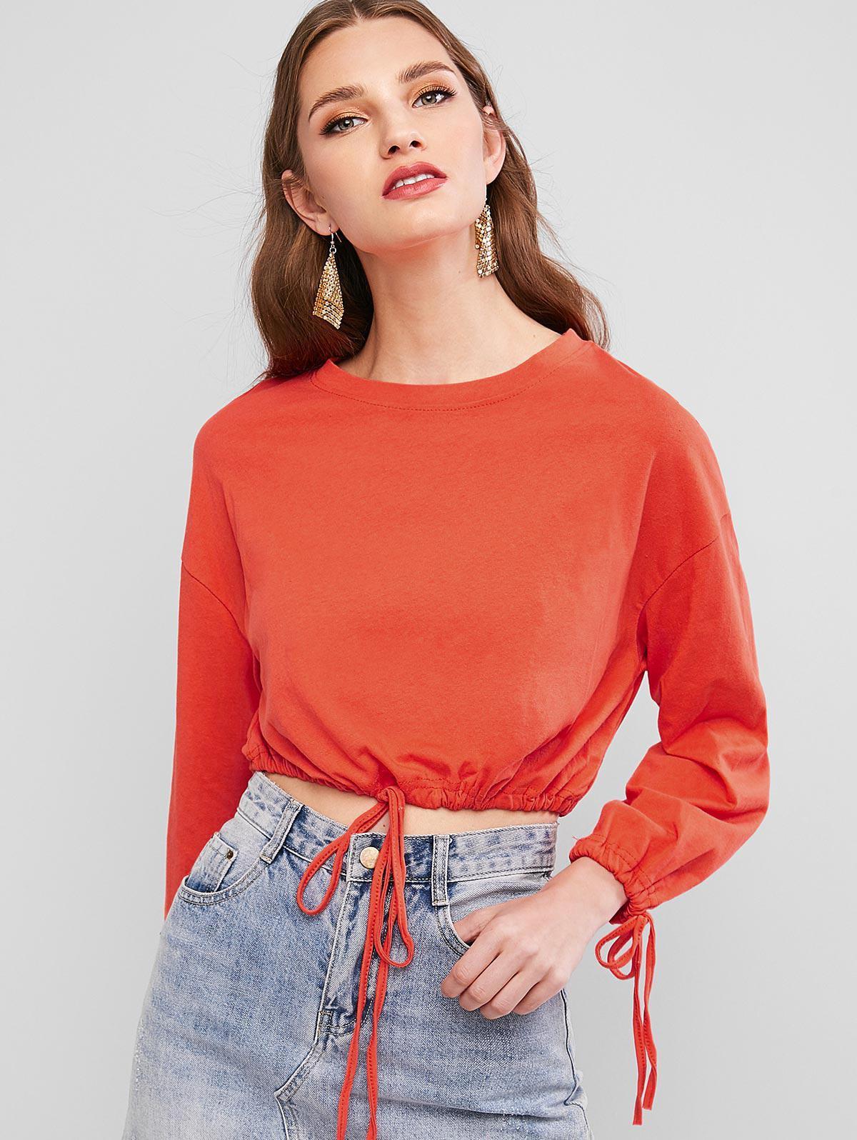 Drop Shoulder Drawstring Cropped Sweatshirt
