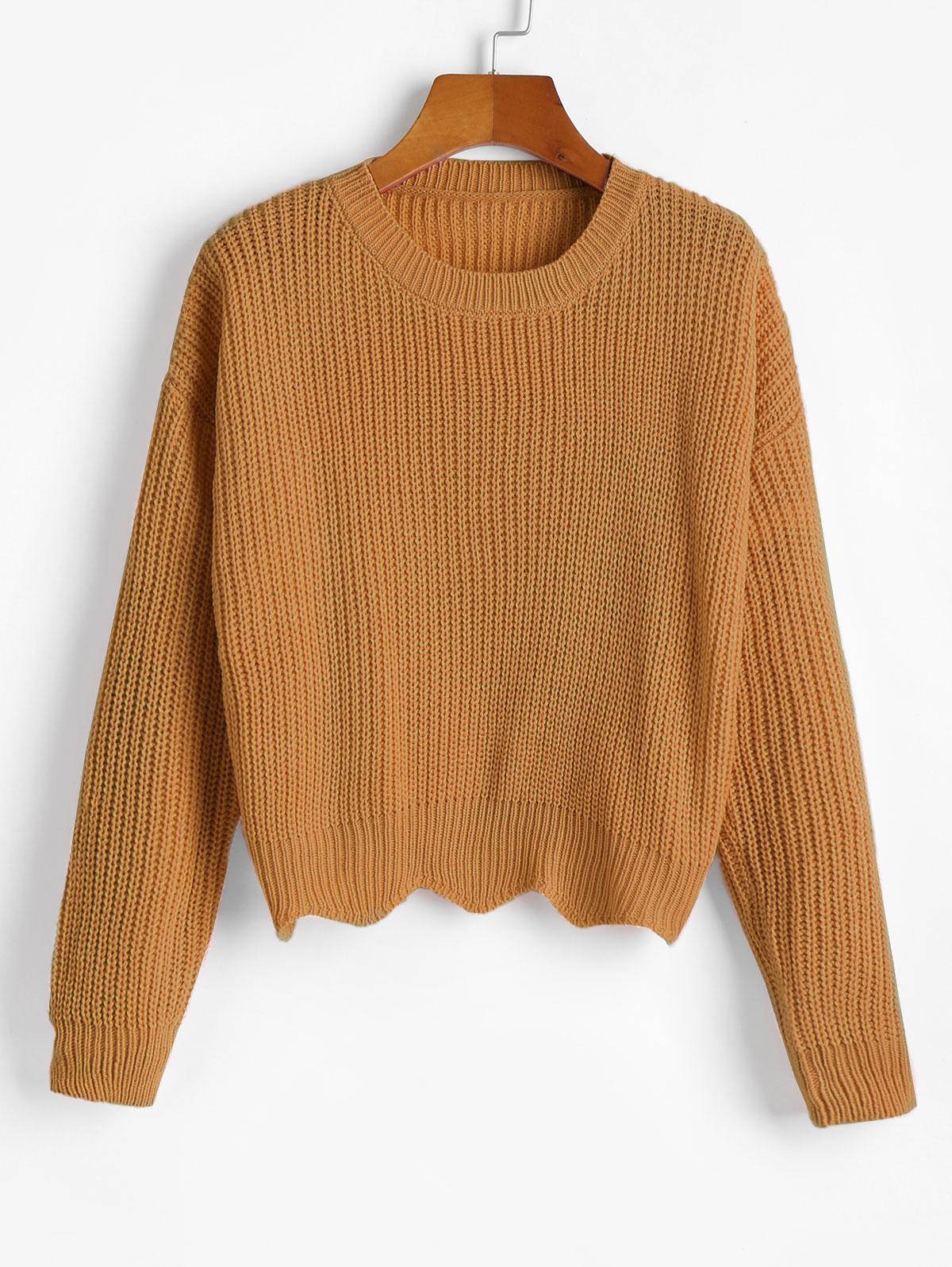 Zigzag Hem Solid Loose Sweater