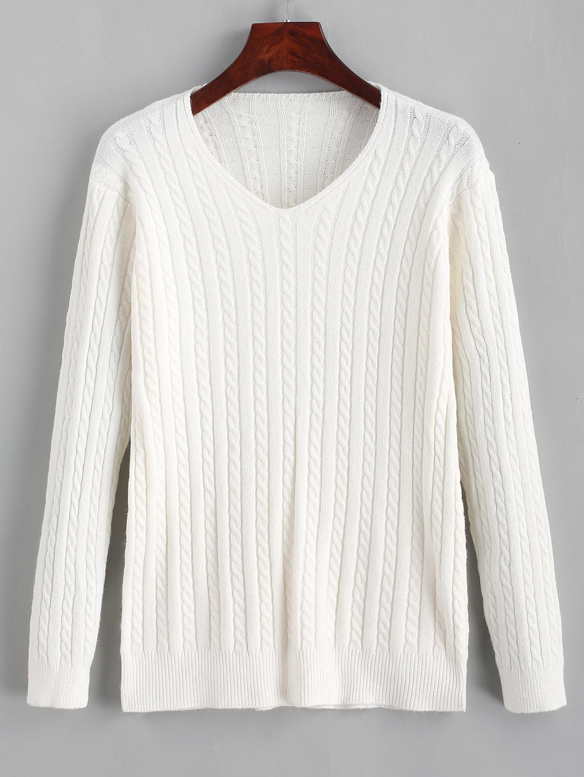 V Neck Cable Knit Jumper Sweater thumbnail