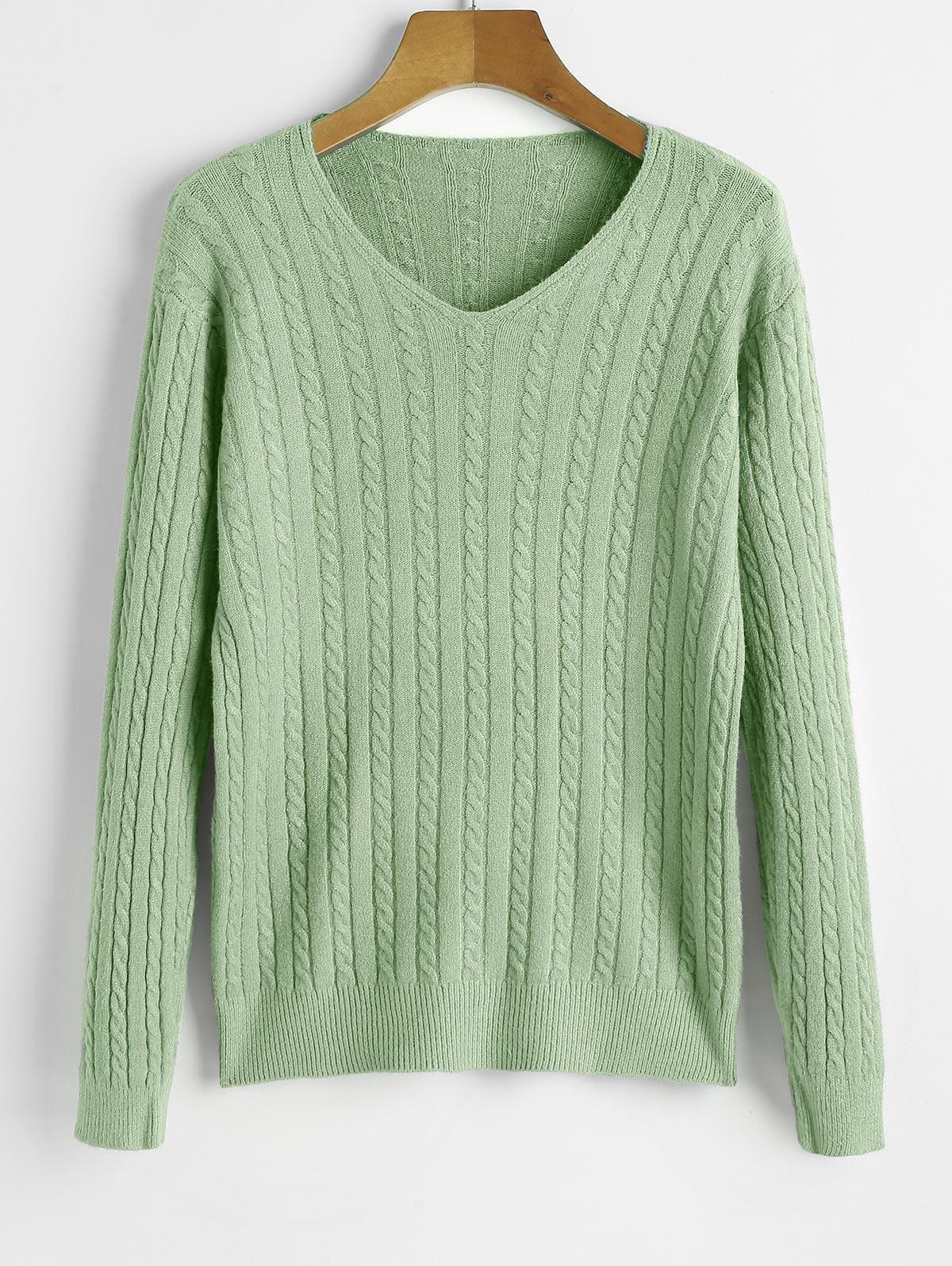 V Neck Cable Knit Jumper Sweater