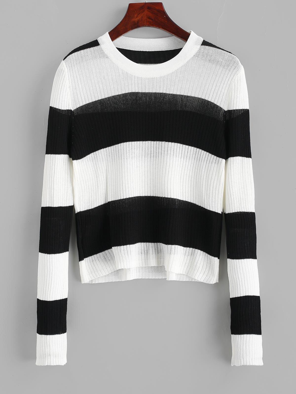 Contrast Two Tone Striped Knitwear