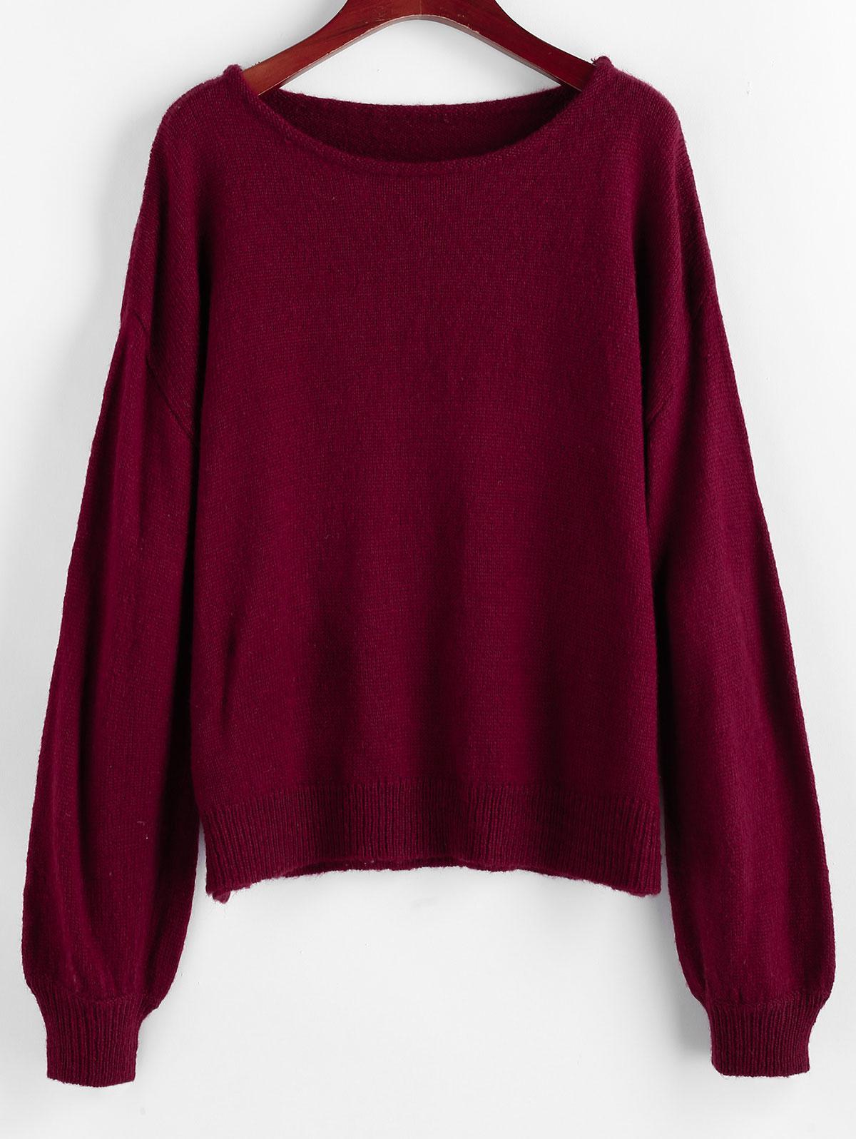 ZAFUL Lantern Sleeve Drop Shoulder Plain Sweater
