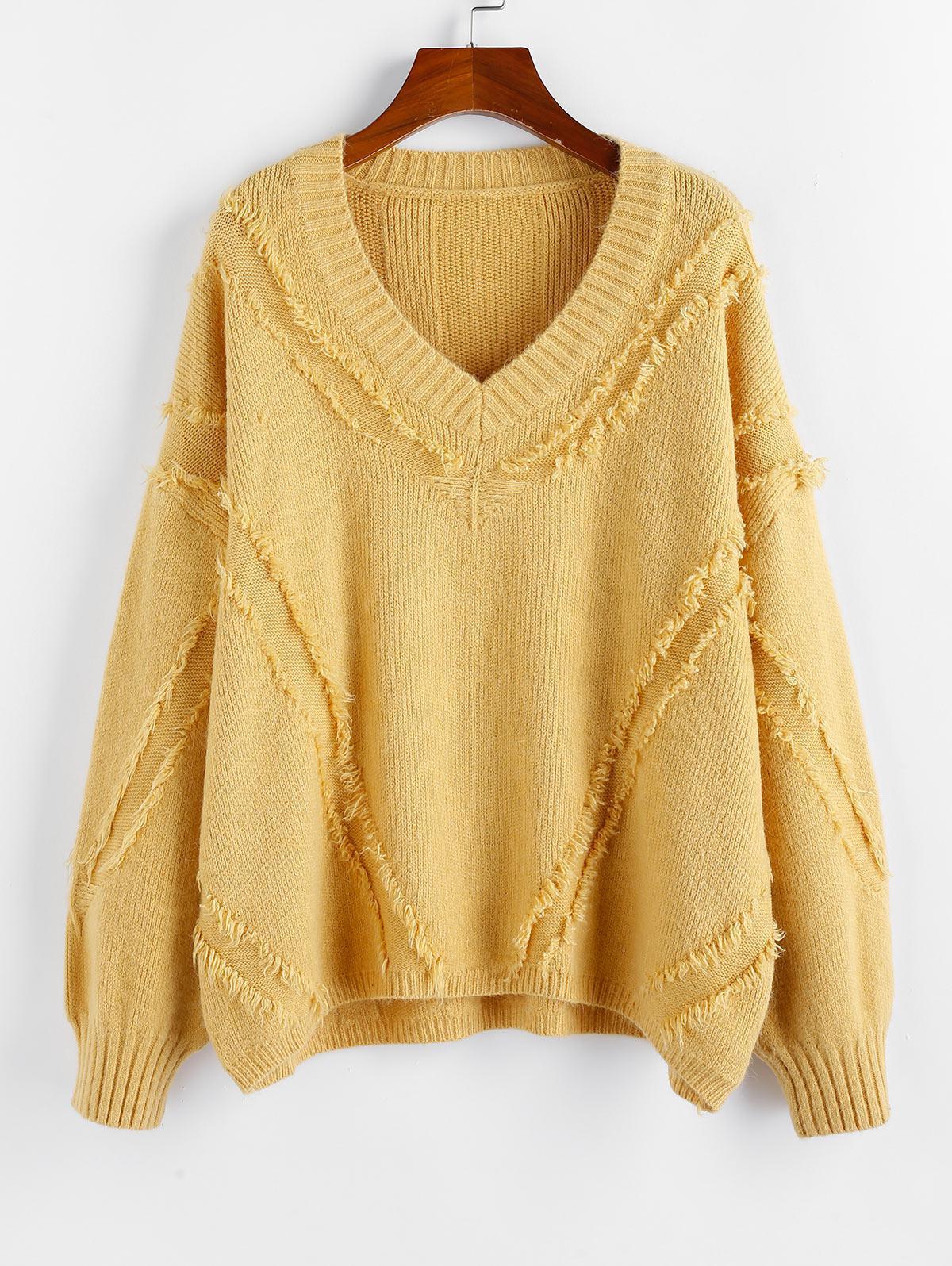 ZAFUL Frayed Detail Drop Shoulder V Neck Sweater фото