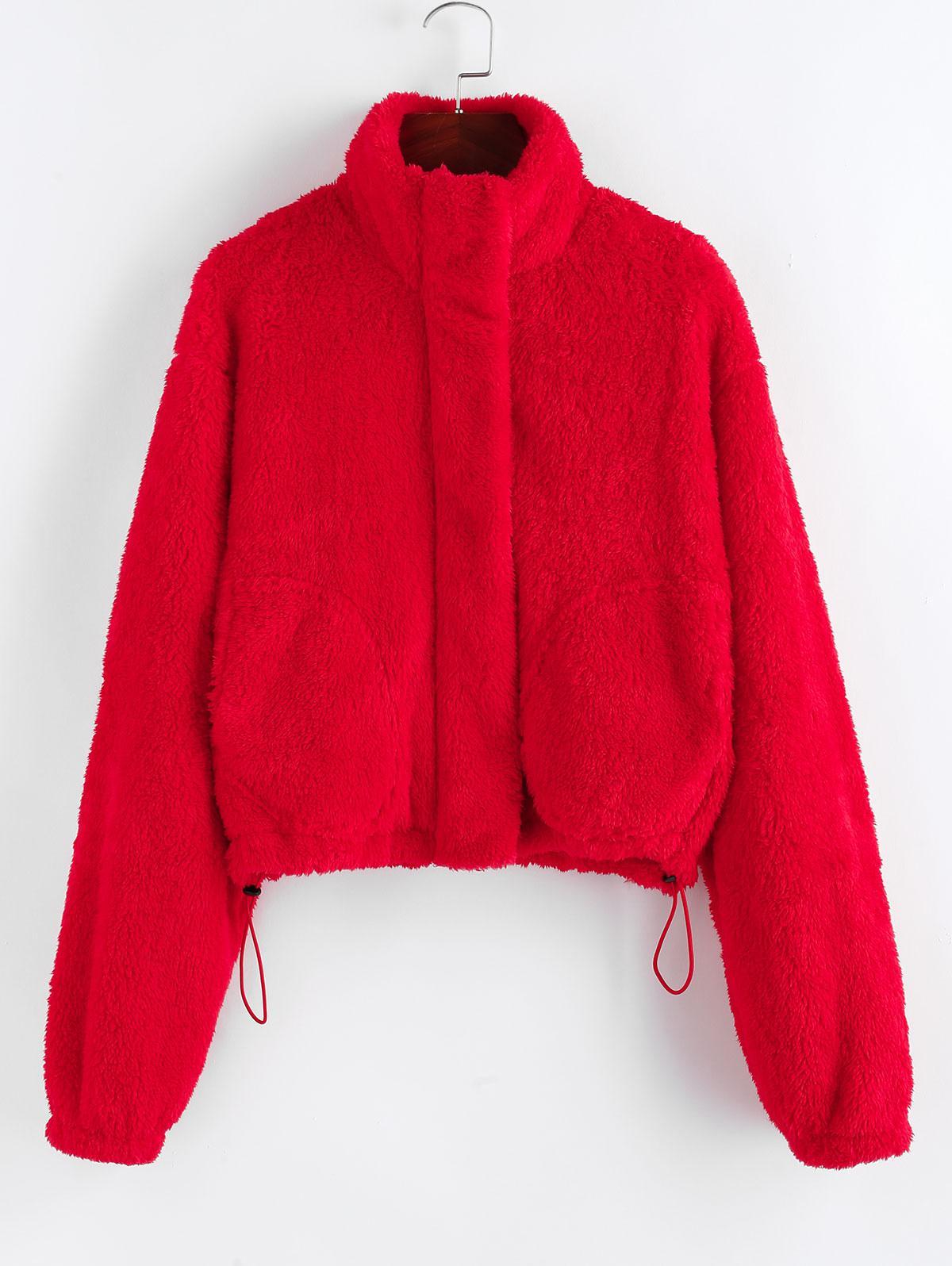 ZAFUL Christmas Faux Shearling Zip Fluffy Pocket Coat
