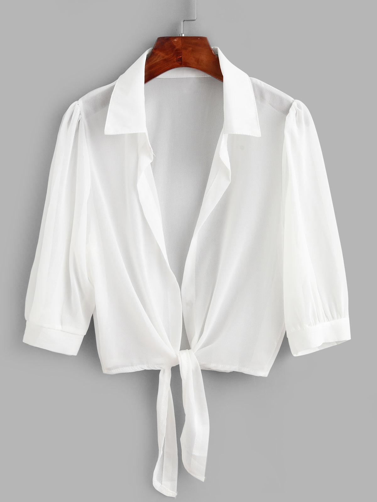 Tie Hem Semi Sheer Crop Cover Up Top
