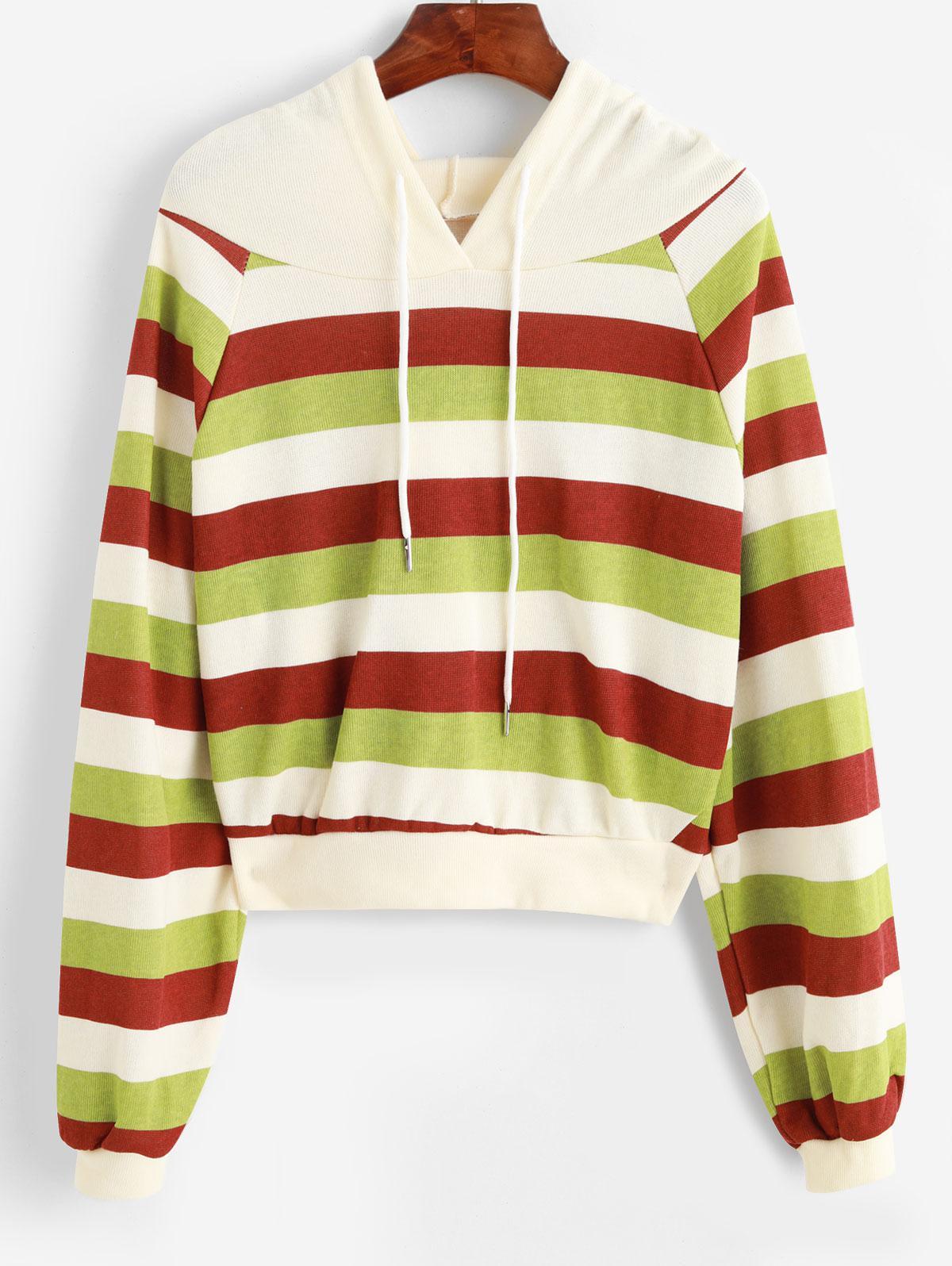 Raglan Sleeve Drawstring Stripes Hoodie