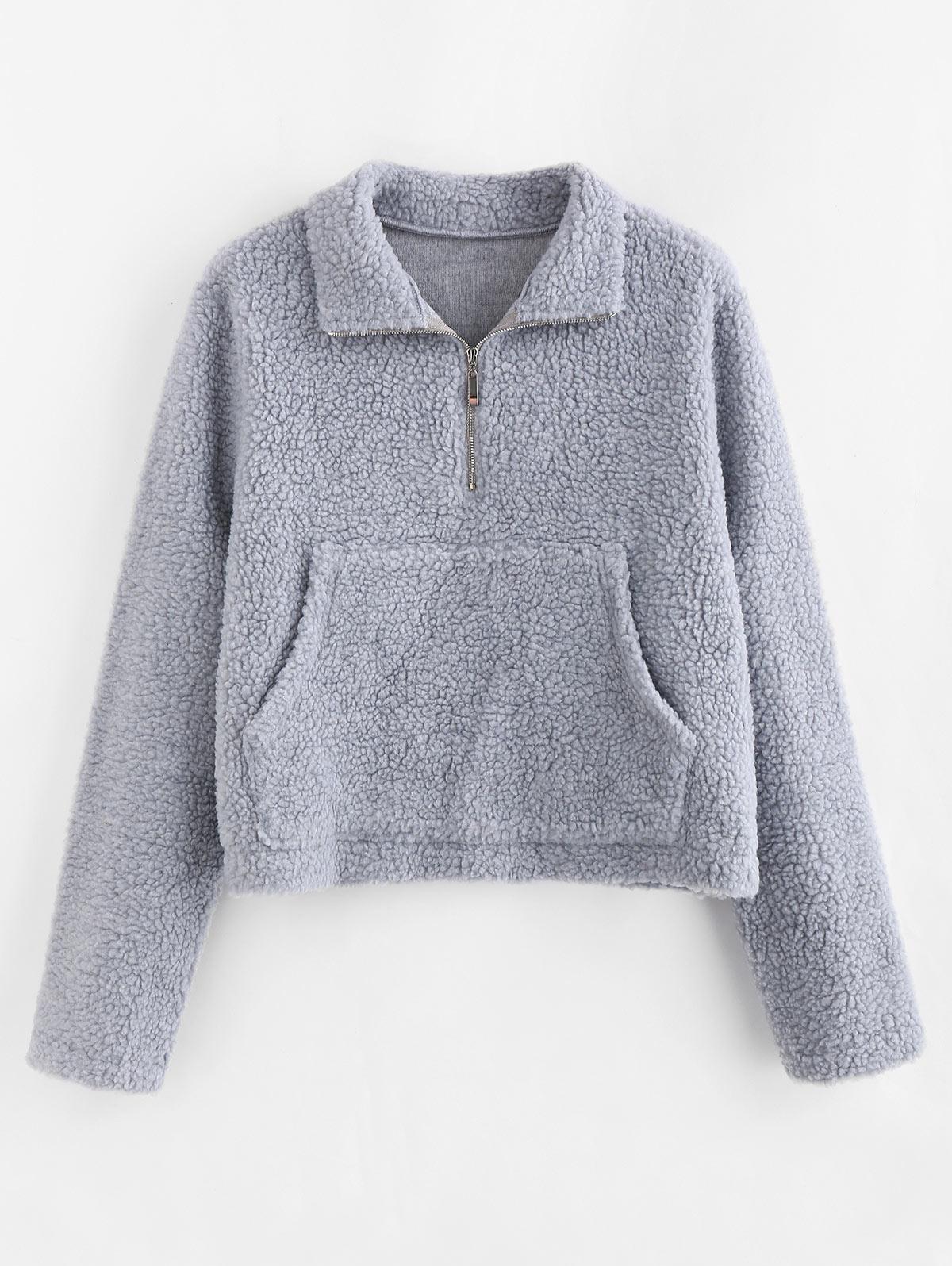 ZAFUL Half Zip Kangaroo Pocket Teddy Sweatshirt фото