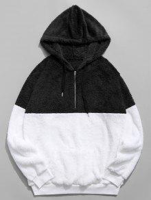 اللون حجب تقسم نصف زيبر فو الفراء هوديي - أسود L