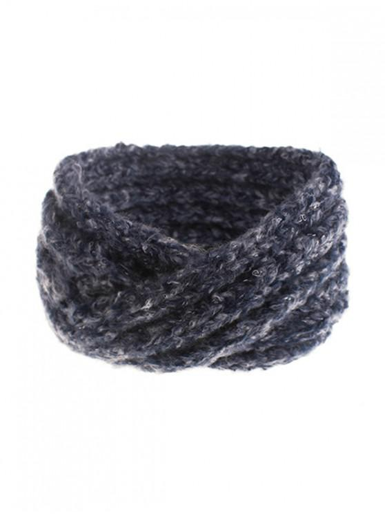 womens Knitted Cross Winter Wide Headband - CADETBLUE