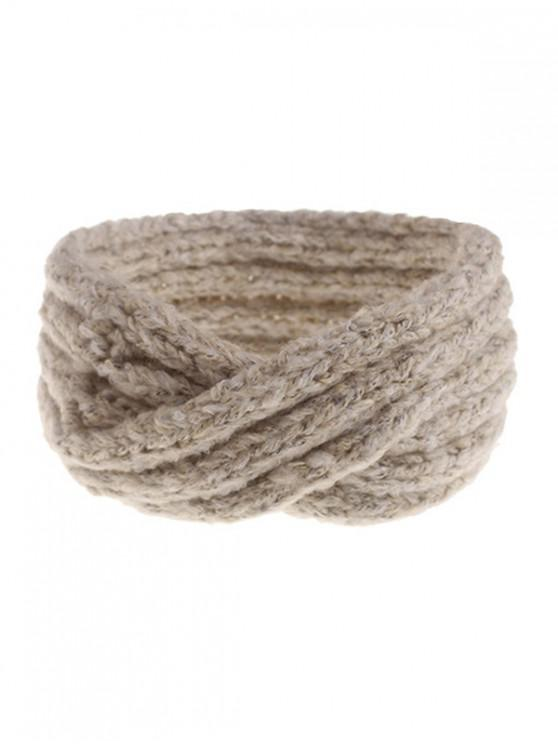 women Knitted Cross Winter Wide Headband - BEIGE