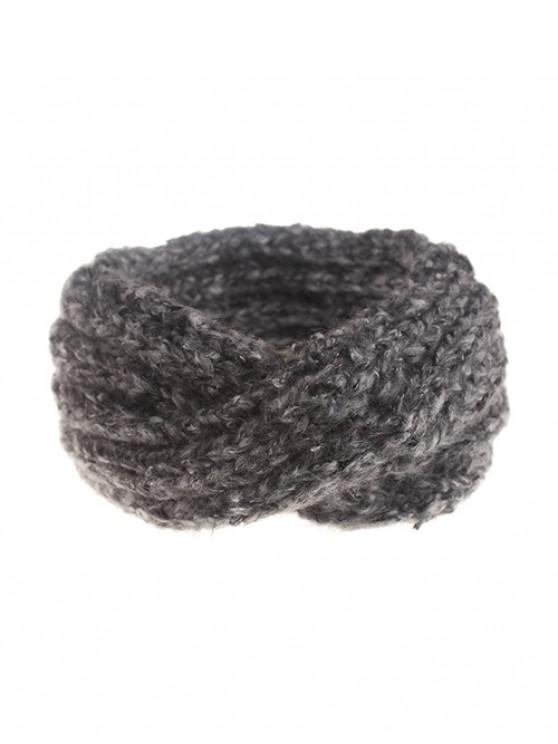 ladies Knitted Cross Winter Wide Headband - DARK GRAY