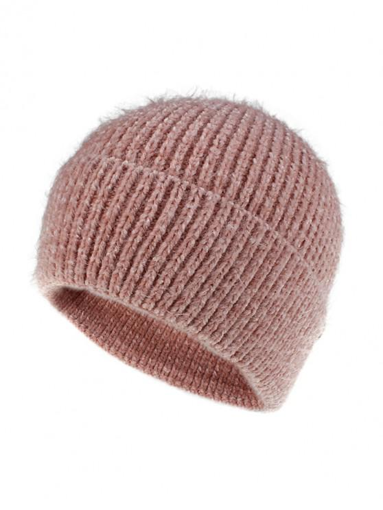 best Winter Brushy Solid Elastic Hat - PINK