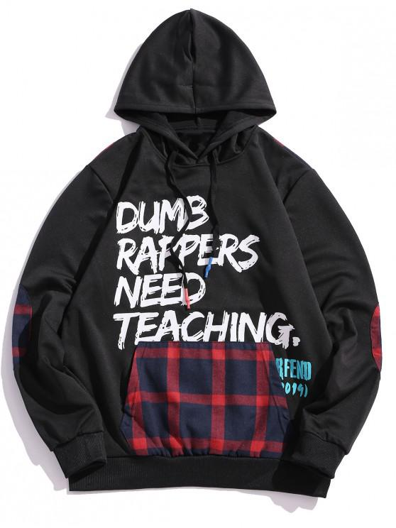women's Checkered Splicing Letter Graphic Drawstring Hoodie - RED XS