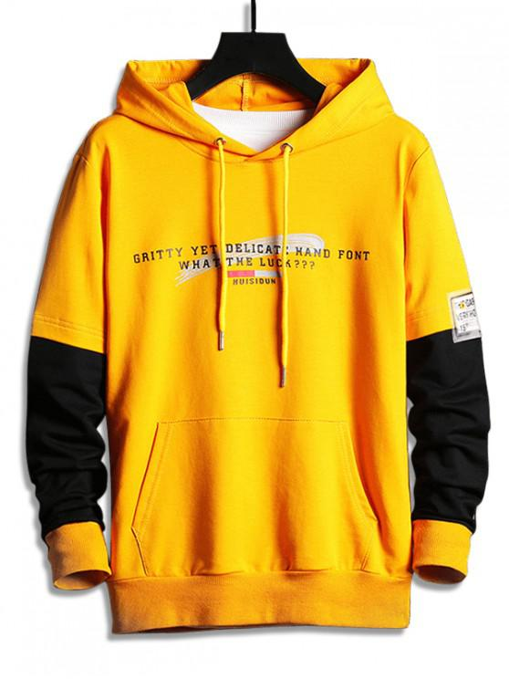 outfit Colorblock Splicing Letter Graphic Drawstring Hoodie - YELLOW M