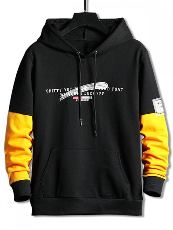womens Colorblock Splicing Letter Graphic Drawstring Hoodie - BLACK M