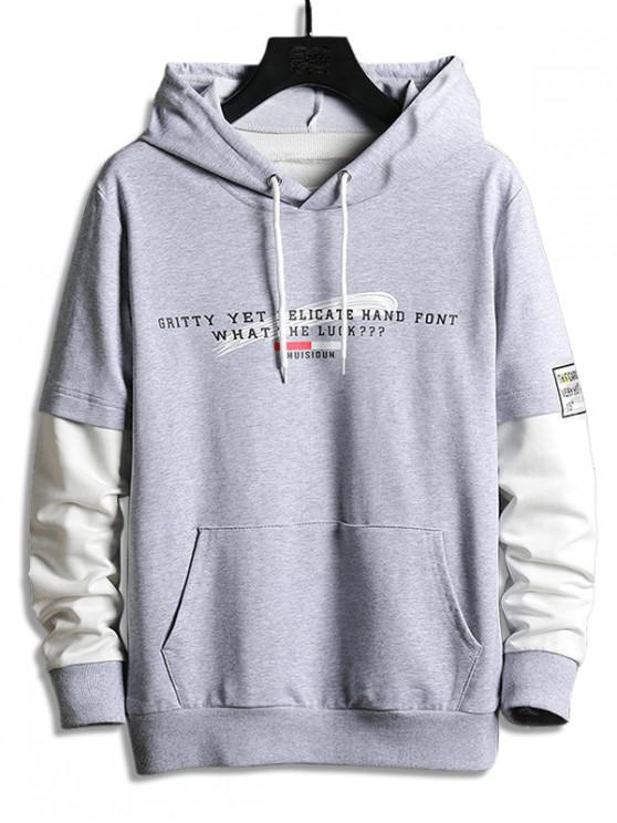 hot Colorblock Splicing Letter Graphic Drawstring Hoodie - GRAY CLOUD S