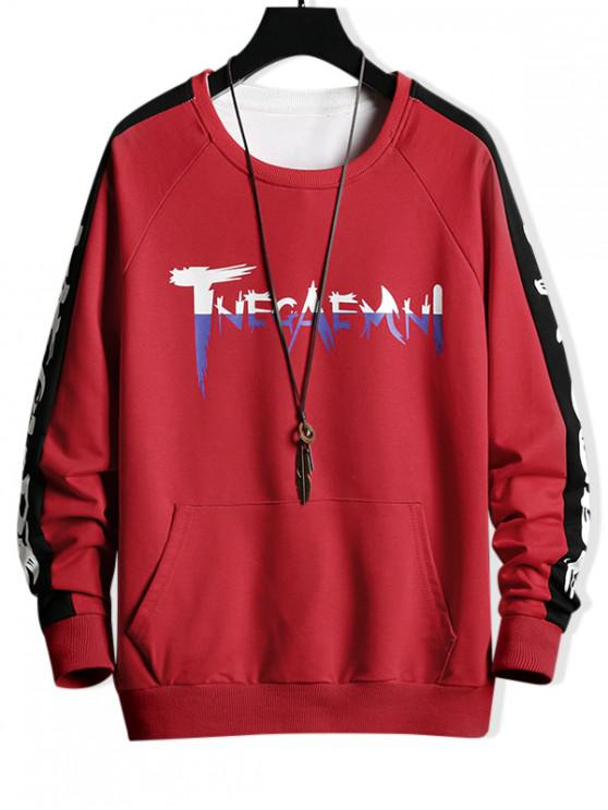fashion Raglan Sleeve Colorblock Spliced Letter Sweatshirt - RED XS