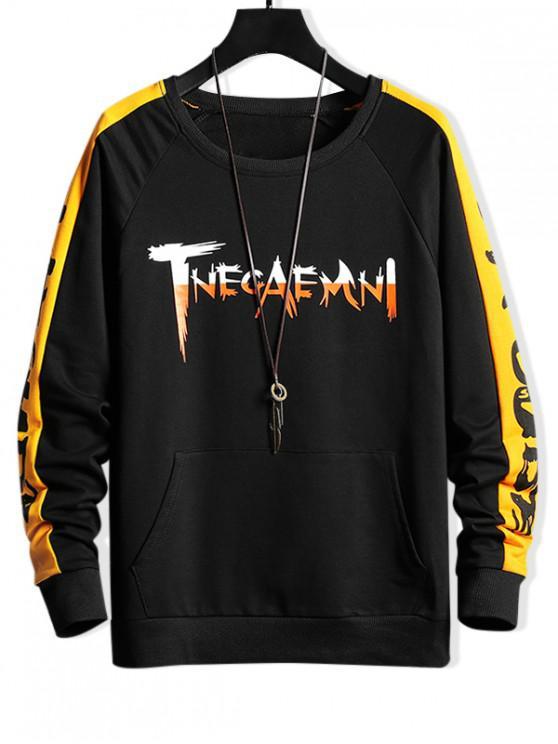 fancy Raglan Sleeve Colorblock Spliced Letter Sweatshirt - BLACK M