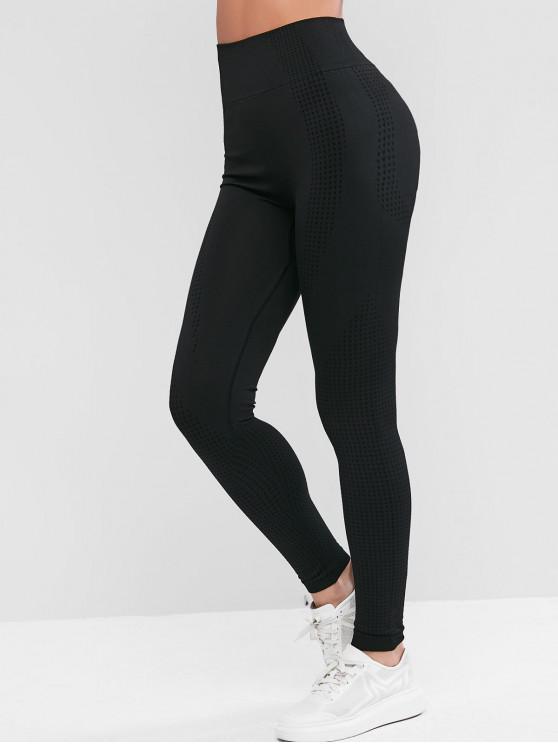 latest Space Dye Wide Waistband Yoga Gym Leggings - BLACK M
