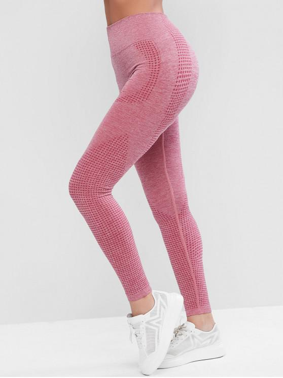 fancy Space Dye Wide Waistband Yoga Gym Leggings - PALE VIOLET RED M