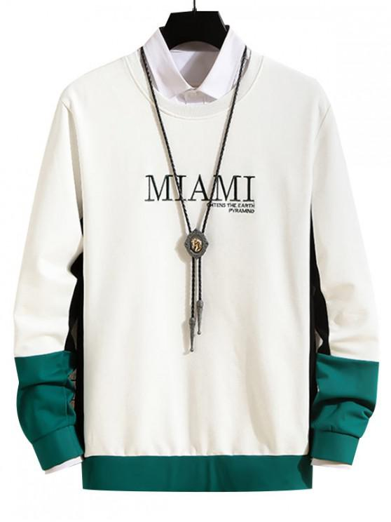 fancy Letter Embroidered Color Spliced Sweatshirt - WHITE S