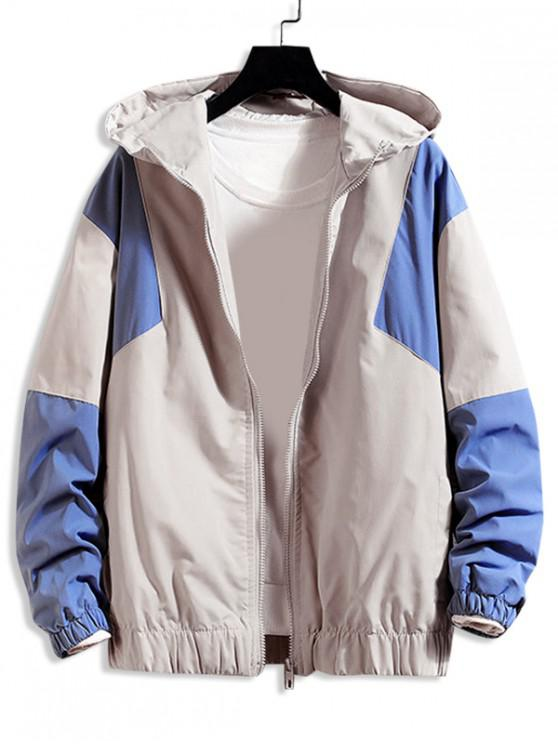 online Color Blocking Splicing Casual Hooded Jacket - BURLYWOOD L