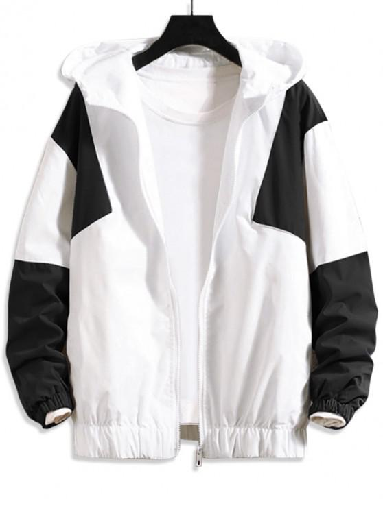 shops Color Blocking Splicing Casual Hooded Jacket - WHITE M