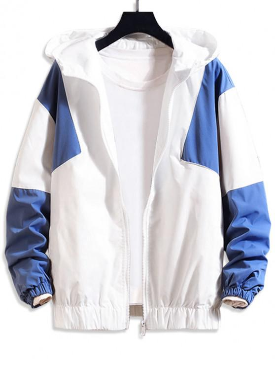 fashion Color Blocking Splicing Casual Hooded Jacket - SKY BLUE 2XL