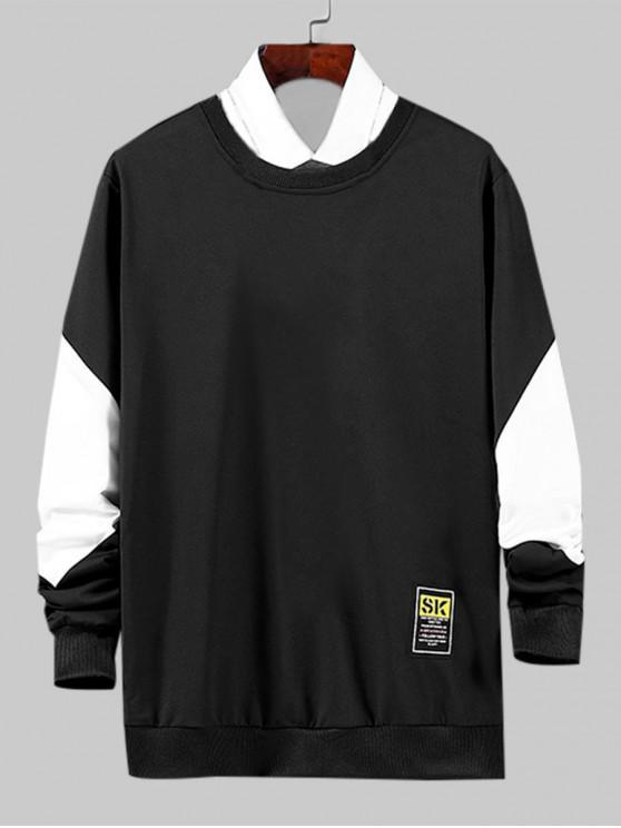 shop Color Spliced Letter Pattern Sweatshirt - BLACK S