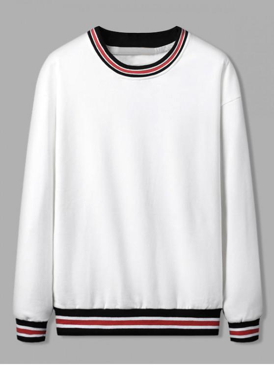 new Color Spliced Striped Pattern Casual Sweatshirt - WHITE M