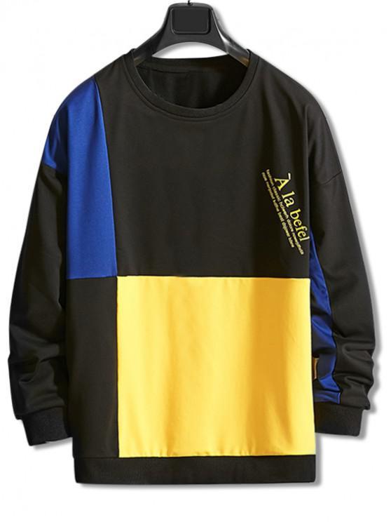 レタープリントカラーブロッキングスプライスドロップショルダースウェットシャツ - ブラック M