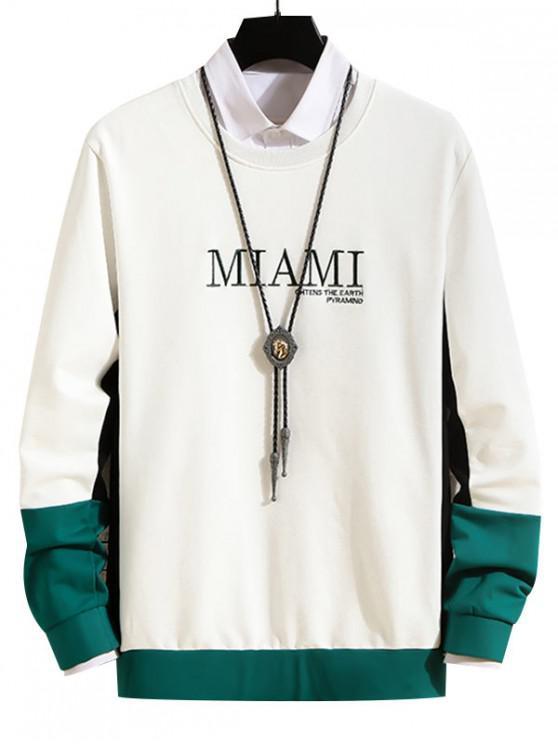 Carta bordado en color empalmado con capucha - Blanco M