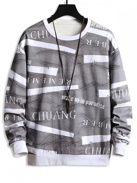 outfit Colorblock Spliced Letter Graphic Sweatshirt - CARBON GRAY XS