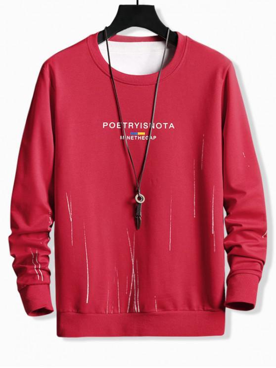 women Letter Print Crew Neck Casual Basic Sweatshirt - RED XS