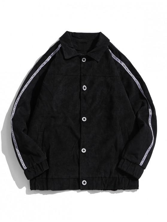 shop Contrast Stripes Raglan Sleeve Cord Jacket - BLACK 2XL