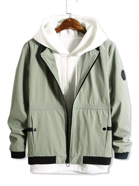 fancy Color Spliced Zip Up Pocket Decorated Jacket - DARK SEA GREEN S