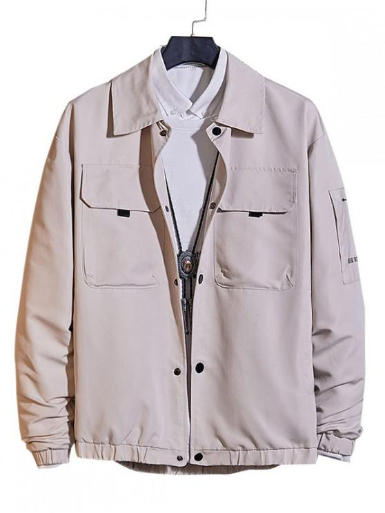 fashion Casual Pocket Decorated Button Up Jacket - GRAY XL