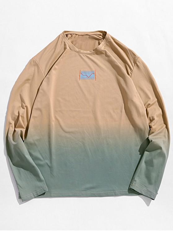 fashion Ombre Graphic Print Long Sleeve Casual Tee - KHAKI S